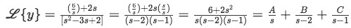 Equation for example 1(f): Algebraic manipulation of the Laplace transform