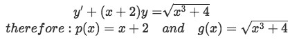 Equation for Example 3(a): Identifying functions p(x) and g(x)