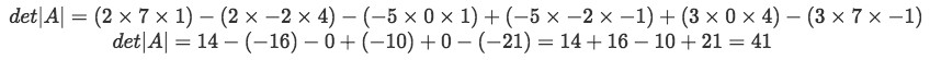 Equation 8: Finding the determinant of matrix A