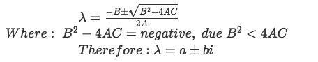 Equation 2: Conditions for the quadratic formula to produce complex eigenvalues