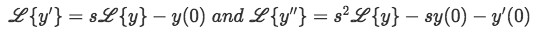 Equation 6: Laplace transform of the first derivative of y and Laplace transform of the second derivative of y.