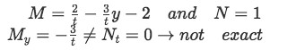 Example 2(a): identifying M and N and checking if equation is exact