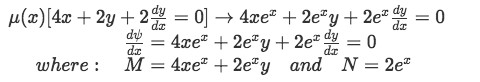 Example 1(e): Rewriting the differential equation with the value found for the integrating factor