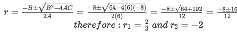 Equation for example 2(b): Solving for r