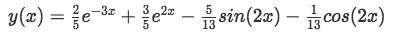 Equation for Example 1(e): Final solution for the differential equation