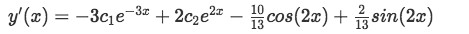 Equation for Example 1(d): Obtaining the derivative of y to start looking for the values of the unknown constants