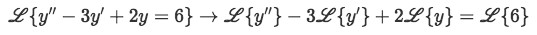 Equation for example 1(a): Applying the Laplace transform to the differential equation