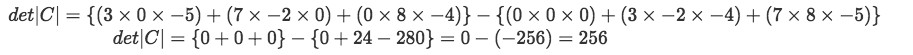Equation 18: Finding the determinant of matrix C