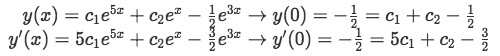 Equation 7(c-1): deriving y and applying the initial conditions to find two equations to solve for the two unknown constants
