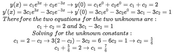 Equation for example 1(d): Applying the initial conditions and solving for the two unknown constants