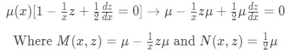 Using integrating factor technique to transform the equation into an exact equation
