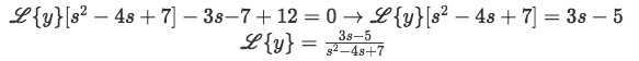 Equation for example 2(d): Rearranging the equation to solve for the Laplace transform of y