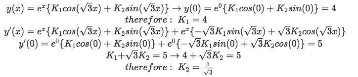 Equation for example 3(d): Finding the values of the two unknown constants