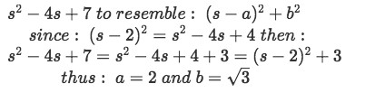 Equation for example 2(e): Manipulation of the denominator found in the Laplace transform