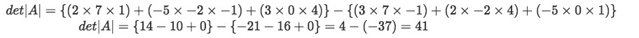 Equation 14: Finding the determinant of matrix A