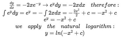 Equation for Example 5(a): Finding y  through the separable equations method