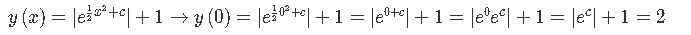 Solving for the unknown constant from the general solution