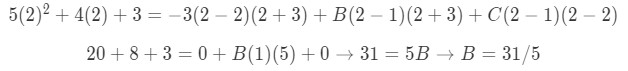 Equation for Example 4(f): Finding the value of B