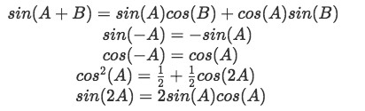 Equation for example 2(e): Useful trigonometric identities (part 1)