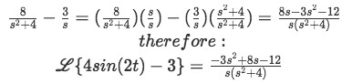 Equation for example 3(g): Final solution for the Laplace transform