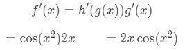 Equation 4: Derivative of sinx^2 pt.4