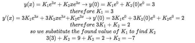 Equation for example 1(d): Finding the values of the unknown constants in the general solution