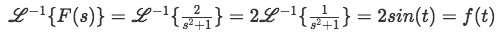 Equation for example 2(b): Inverse Laplace transform of F(s)