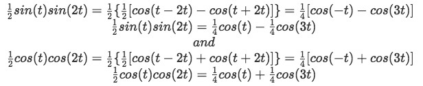 Equation for example 2(h): Simplifying two terms using identities