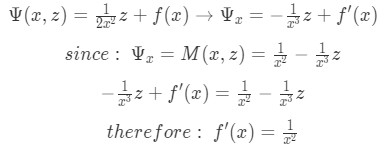 Taking the partial derivative of Psi with respect to x to find the unknown function of x