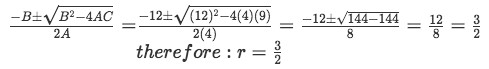 Equation for example 2(b): Finding the repeated root