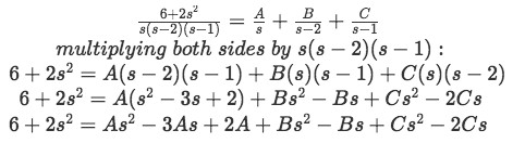 Equation for example 1(g): Obtaining an identity equation to find coefficients A, B and C
