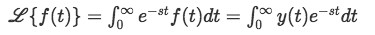 Equation 1. Laplace transform for a function f(t) where t>=0.