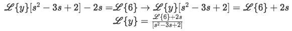 Equation for example 1(d): Rearranging the equation to solve for the Laplace transform of y