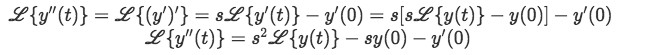 Equation 5: Laplace transform of y''