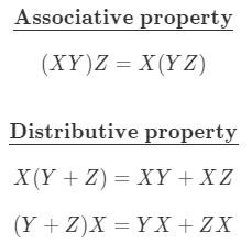 Formula 3: Matrix Multiplication Properties