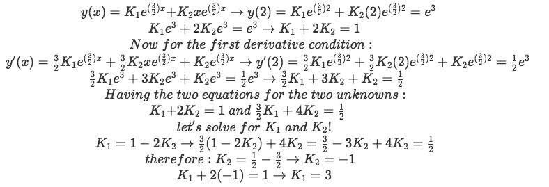 Equation for example 2(d): Finding the values of the unknown constants in the general solution