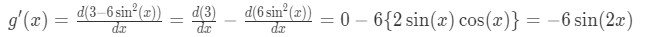 Derivative of function g(x)