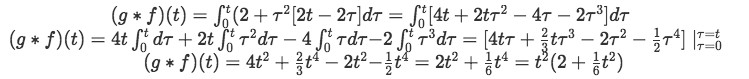 Equation for example 1(e): Solving the convolution integral