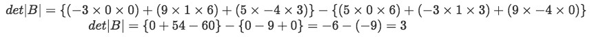 Equation 16: Finding the determinant of matrix B