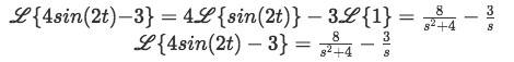 Equation for example 3(f): Complete solution to the Laplace transform
