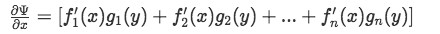 Partial derivative of Psi respect to x