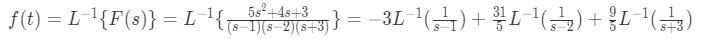 Inverse Laplace Transform for the simplified F(s)